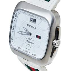 Gucci White Stainless Steel Leather G Coupe Large YA131303 Men's Wristwatch 40 mm