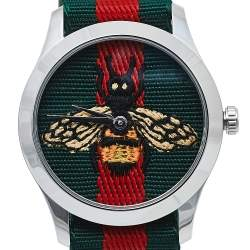 Gucci Multicolor Stainless Steel Web G-Timeless YA1264060 Men's Wristwatch 38 mm