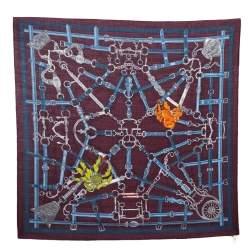 Hermes Burgundy Flamboyant Web Cashmere Blend Square Scarf