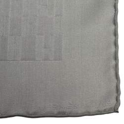 Hermes Grey Faconnee Grand H Silk Pocket Square