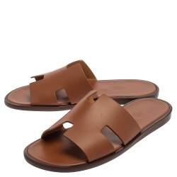 Hermes Brown Leather Izmir Sandals Size 41