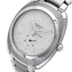 Hermes Silver White Stainless Steel Dressage DR5.71B Men's Wristwatch 40 mm