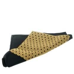 Hermes Black and Yellow Printed Silk Pocket Square
