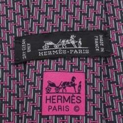 Hermes Pink & Grey H Patterned Silk Tie