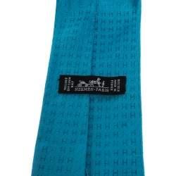 Hermes Vibrant Blue Faconnee H Silk Jacquard Tie