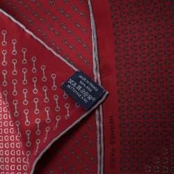 Hermes Maroon Horsebit Print Silk Twill Pocket Square