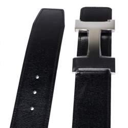 Hermes Black/Cacao Box Calf Leather Constance Reversible Belt 90CM
