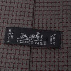 Hermes Grey Navigator Print Silk Tie