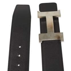Hermés Black/White Swift and Epsom Leather Constance Reversible Belt 85CM