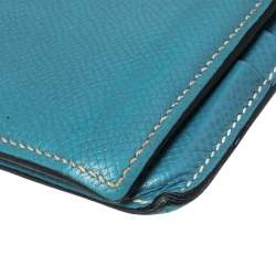 Hermes Light Blue Leather Bifold Compact Wallet