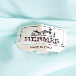 Hermes Sea Blue Odysee Printed Cotton Crewneck T-Shirt XXL