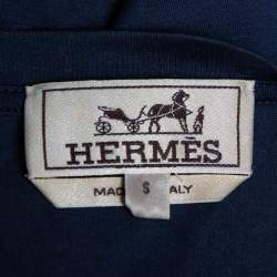 Hermes Navy Blue Mors Embroidered Cotton Crewneck Blanc T-Shirt S