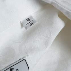 Hermes White Floral Jacquard Cotton Button Front Shirt L