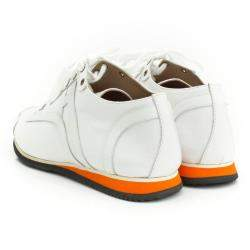 Hermes White Canvas And Leather Trim Kool Low Top Sneakers Size 42
