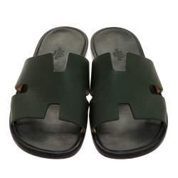 حذاء سلايدز هيرمس فلات أزمير جلد أخضر 43.5