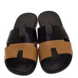 Hermes Black/Brown Leather Izmir Flat Slides Size 43.5