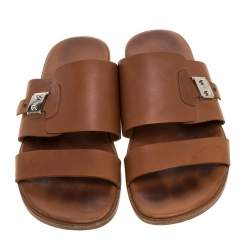 Hermes Brown Leather Slide Sandals Size 43.5