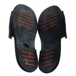 Hermes Black Leather Slide Sandals Size 43