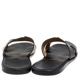 Hermès Black Leather Izmir Slide Sandals Size 46.5