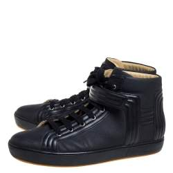 Hermes Black Leather High Top Lace Up Sneakers Size 46