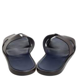 Hermes Brown/Blue Epsom Leather Izmir Flat Slides Size 43