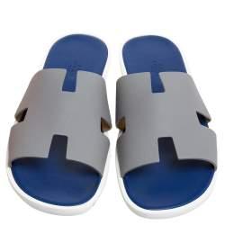 Hermes Grey/Blue Leather Izmir Slip On Sandals Size 44