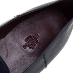 Hermes Blue Leather Saga Loafers Size 43