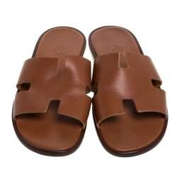 Hermes Brown Leather Izmir Flat Slides Size 42.5