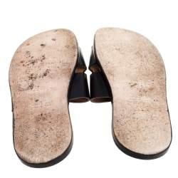 Hermes Black Leather Izmir Slide Sandals Size 42