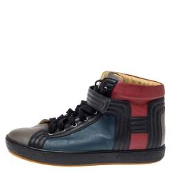 حذاء رياضي هيرمس جلد متعدد الألوان ليونز بعنق مرتفع مقاس 44