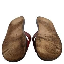 Hermes Burgundy Leather Izmir Sandals Size 43