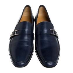 Hermes Navy Blue Leather Dan Loafers Size 43.5