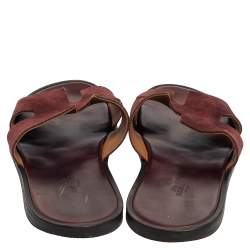 Hermes Brown Suede Izmir Sandals Size 43