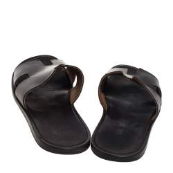 Hermes Brown Leather Izmir Slide Sandals Size 43