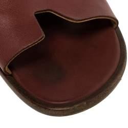 Hermes Burgundy Leather Izmir Slides Sandals Size 43