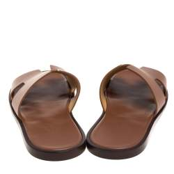 Hermes Brown Leather Izmir Sandals Size 43