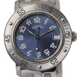 Hermes Blue Stainless Steel Clipper Diver Men's Wristwatch 38 MM
