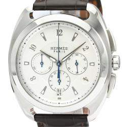 Hermes Silver Stainless Steel Dressage DR5.910 Automatic Men's Wristwatch 41 MM