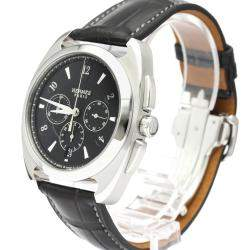 Hermes Black Stainless Steel Dressage Chronograph Automatic DR5.910 Men's Wristwatch 41 MM