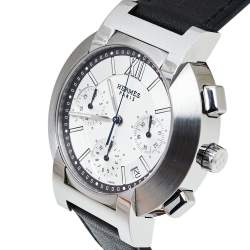 Hermes Silver Stainless Steel & Leather Nomade Chrono N01.910 Men's Wristwatch 39 mm