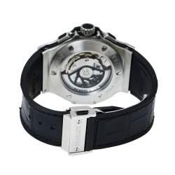 Hublot Black Stainless Steel Diamonds Big Bang Chronograph Men's Wristwatch 44MM