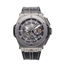 Hublot Grey Titanium Ferrari Big Bang Ferrari Unico Limited Edition 401.NX.0123.VR Men's Wristwatch 45 MM