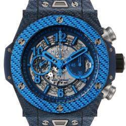 Hublot Blue Texalium Carbon Fiber Big Bang Unico Carbon Chronograph 411.YL Men's Wristwatch 45 MM
