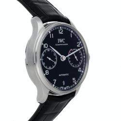 IWC Black Stainless Steel Portugieser Automatic IW5007-03 Men's Wristwatch 42 MM