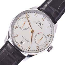 IWC White Stainless Steel Portuguese Automatic IW500704 Automatic Men's Wristwatch 41 MM