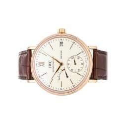 IWC Silver 18K Rose Gold Portofino Hand-Wound Eight Days IW5101-07 Men's Wristwatch 45 MM