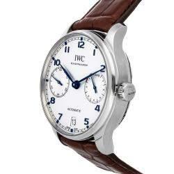 IWC White Stainless Steel Portugieser 7 Day IW5007-05 Men's Wristwatch 42 MM