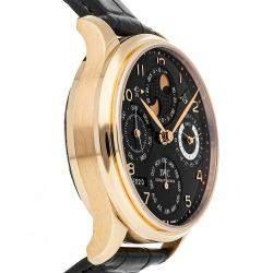 IWC Black 18K Rose Gold Portugieser Perpetual Calendar IW5021-19 Men's Wristwatch 44 MM