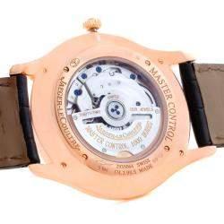 Jaeger Lecoultre Beige 18K Rose Gold Diamonds Master Control Men's Wristwatch 40MM