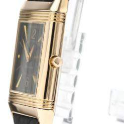 Jaeger Lecoultre Black 18K Rose Gold Reverso Mechanical 250.2.86 Men's Wristwatch 23 MM
